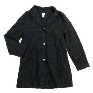 J. Jill Black Wool Blend Lightweight Coat